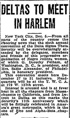 Delta Sigma Theta Sorority To Have 6th Annual Convention in Harlem - December 5, 1924 by vieilles_annonces, via Flickr