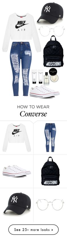 """Untitled #271"" by nicolezooms on Polyvore featuring NIKE, '47 Brand, Topshop, Moschino, Bobbi Brown Cosmetics and Converse"