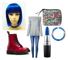 """""""oc-lilly"""" by keyatsu ❤ liked on Polyvore featuring Marvel, Dr. Martens, WithChic, T By Alexander Wang, MAC Cosmetics and Lokai"""