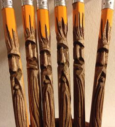 A Fiber Artist on Lopez Island: Carving Pencils Whittling Projects, Whittling Wood, Dremel Projects, Dremel Ideas, Pencil Carving, Face Stencils, Wooden Walking Canes, Led Pencils, Chip Carving
