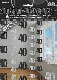 40th BIRTHDAY PARTY DECORATIONS HANGING STRINGS SUPPLIES SILVER BLACK PACK OF 6 70th Birthday Decorations