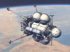 Von Braun/Collier's moon cargo lander in earth orbit