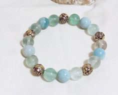 Natural Amazonite and Fluorite Gemstone Beads by LuckyFrogDesigns