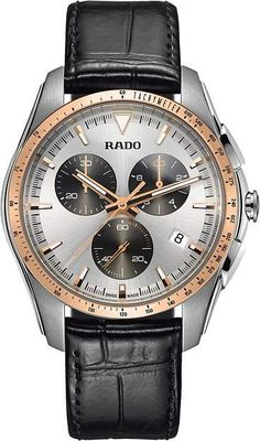 Rado Hyperchrome Chronograph Leather Strap Watch, In Brown/ Silver/ Rose Gold Fine Watches, Sport Watches, Men's Watches, Dream Watches, Rado, Luxury Watches For Men, Fashion Watches, Men Fashion, Stainless Steel Case