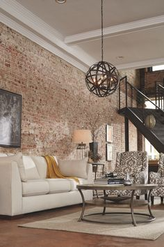 smart build ideas for the modern farmhouse style 46 Living Room Modern, Interior Design Living Room, Living Room Decor, Living Room Brick Wall, Brick Accent Walls, Exposed Brick Walls, Painted Brick Walls, Ashley Furniture, Brick Interior