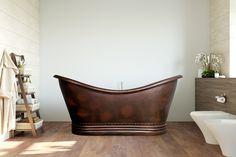 1820 mm x 810 mm Freestanding Standard Double Ended Bathtub GMLK Copper Tub, Copper Bathroom, Double Bathtub, Bath Screens, Bath Panel, Antique Copper, Hammered Copper, Hudson Reed, Large Baths