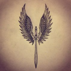 Angel Wings / Sword tattoo sketch by - Ranz