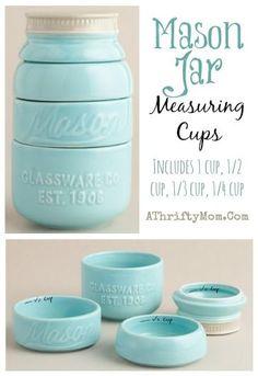 Mason Jar Messuring cups, Home Decor for the Kitchen, teal mason jar, love these shabby chic idea, home decor for less, Kitchen design ideas