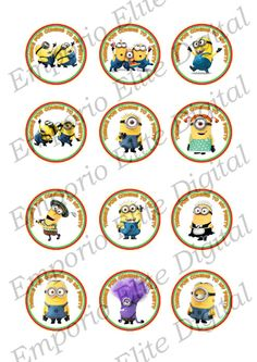 INSTANT DOWNLOAD Despicable Me Minions Gru Printable Party 2 Circle for Ballons, Cupcakes, Hats, Favors, Toppers, Stickers, Decorations via Etsy