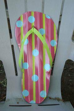 Flip Flop Summer Beach Pool Lake House Tin Art door wall decor decoration. $45.00, via Etsy.