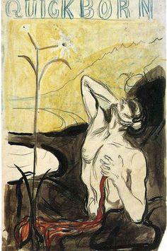 """Edvard Munch (1863-1944, Norwegian), 1897, 'Fleurs du Mal' by Charles Beaudelaire, Projet Illustration Cover Magazine """"Quickborn."""""""