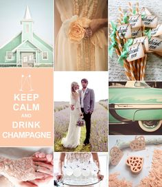 Peach  Mint wedding inspiration | Peach and mint go together so smoothly and really capture the essence of a warm summer wedding! We love the combination of the two and in today's board we also added a dash of lavender to the mix! Don't those lavender lemonade cocktails look refreshing?!! Theme: Summer Peach Colors: Peach, Mint and Lavender Lucky in Love Wedding Planning Blog | Banquet and Event