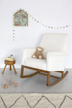 Olli Ella Roki Rocking chair and Garland. Stylish nursing chair and lovely house shadow box.