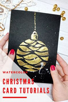 Watercolour Christmas card TUTORIAL for beginner ★ How to paint a watercolour Christmas card ★ Easy and Quick★ Watercolour Christmas card ideas 2019 ★ Watercolour Christmas card DIY★ How to paint pretty Christmas card DIY Christmas Arts And Crafts, Diy Christmas Cards, Arts And Crafts For Adults, Watercolor Christmas Cards, Thoughtful Christmas Gifts, Xmas Holidays, Card Tutorials, Card Ideas, Gift Ideas