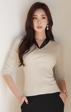 StyleOnme_Lace Trim Wrap Style Metallic T-shirt #lace #metallic #beige #tee #feminine #koreanfashion #kstyle #kfashion #springtrend #dailylook