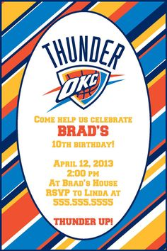 OKC Thunder Party Invitation 4x6 Or 5x7 Printables By KWPCreations 500 13 Birthday 13th