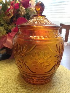 Vintage Anchor Hocking Amber Glass Sandwich by housedeAlcancotes, $40.00