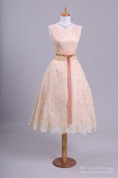 1950's Blush Lace Sabrina Vintage Party/Wedding Dress : Mill Crest Vintage