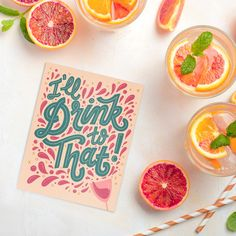 I'll Drink to That! A hand-lettered greeting card, perfect for a stock-the-bar party, an engagement, or just about any celebratory occasion. From hand-lettered paper goods & stationery shop, www.KatieMadeThat.com.