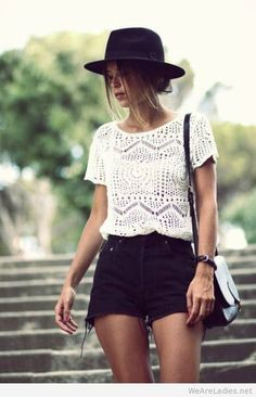 Look festival cool in a white crochet top and black cut-off shorts. Check out the website for 2014 Fashion Trends, 2014 Trends, Fashion Ideas, Latest Trends, Fashion Images, Fashion Advice, Fashion Mode, Look Fashion, Street Fashion