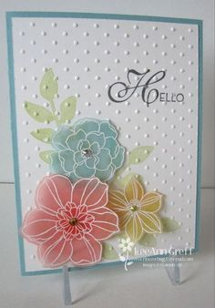 I love these flowers stamped and embossed on our Vellum! It's such a soft and pretty look. This is one of the cards we made at my Card Clubs this month! Aren't they gorgeous! We inked the flower stamps from Secret Garden in Versamark ink and stamped them on our Vellum card stock. Love this paper!! We then heat embossed them in White embossing powder. Next we sponged the back side of these flowers with Calypso Coral, Baja Breeze and...