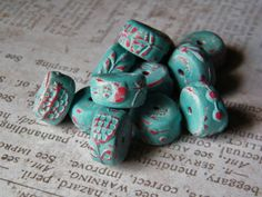 New Folk Art Whimsical Spacer Beads Polymer by SweetBirchDesigns
