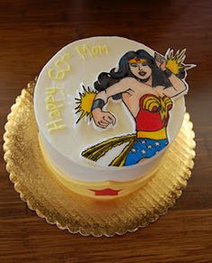 Wonder Woman cake! Thoughts of keeping the tiara around the base and just the insignia on top :)