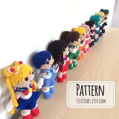 Collection of Sailor Moon Amigurumi Patterns by on Etsy *this is an awesome store* Amigurumi Doll, Amigurumi Patterns, Knitting Patterns, Crochet Patterns, Crochet Ideas, Sailor Moon Crochet, Sailor Moon Crafts, Knitted Dolls, Crochet Dolls