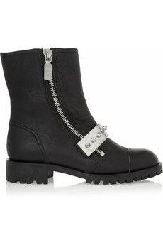 Alexander McQueen Stud-embellished leather biker boots | NET-A-PORTER