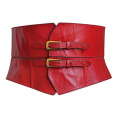 Yves Saint laurent - YVES SAINT LAURENT red leather corset belt found on Polyvore