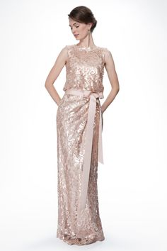 Paillette Embroidered Lace Blouson Gown in Primrose - Wedding | Tadashi Shoji