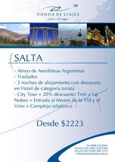 #Salta Tarifa final por persona en base doble expresada en pesos argentinos. Paquete válido para viajar hasta el 30/11/2012 (no válido para feriados).No incluye gastos administrativos.