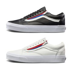 Vans old skool ZIP first layer of leather red and blue side of the zipper  couple