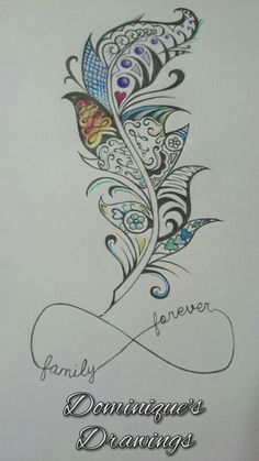 Family forever feather tattoo design @sephira85 someting like this....different feather design