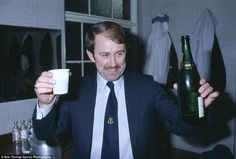 Howard Kendall's superb Everton team of the mid 1980s remain among my favourites ever - the Merseysiders won two league titles, an FA Cup, and a European Cup Winners' Cup, and they should probably have won more. Here is a picture of Kendall toasting a League Cup semi-final success over Aston Villa in 1984