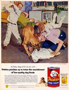 Austin Briggs, advertising illustration for Friskies Dog Food, 1955