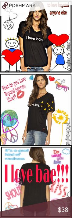 ✌🏼️💗🌎 I Love Bae ✌🏼️💗🌎 ✌🏼️💗🌎 I am Bae v-neck Mia Tee. Has all you expect from this awesome company, a great git, comfort, and style! Bare in Danish it means poop!! But this is America!! Here it means to love beyond anyone else!! Who is your Bae?? Thanks😋✌🏼️💗⭐️ ✌🏼️💗🌎 Tops Tees - Short Sleeve