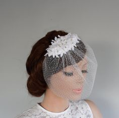 Floral Headdress with Tulle Blusher Silver by MammaMiaBridal, $73.00