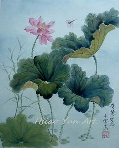 Lotus Pond and Dragonfly / Chinese Watercolor Brush by HsiaoYunArt