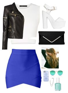 """Untitled #659"" by sofiy112 ❤ liked on Polyvore featuring BCBGMAXAZRIA, Balmain, Nly Shoes, Lulu DK, Uncommon, French Connection and Essie"