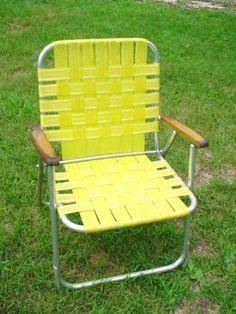 Vintage Aluminum Highback Wide Seat Web Webbed Folding