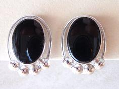 Black Onyx Sterling Silver CarlArt Screw Back by cutterstone, $30.00