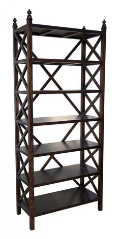 Upstairs Downstairs Furniture - Criss Cross Bookcase,* Choose a Finish: Hand Rubbed Black;  Hand Rubbed Brown