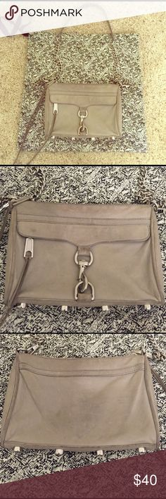 "Rebecca Minkoff Gray Mini-Mac Purse with Dustbag Super cute gray color. Does show signs of wear. The reason this is shown as ""sold"" in my closet on another listing is because of a canceled transaction. No trades. Rebecca Minkoff Bags Crossbody Bags"