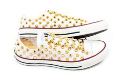 Summer SALE Studded Converse GOLD stud converse low by customduo, $85.00