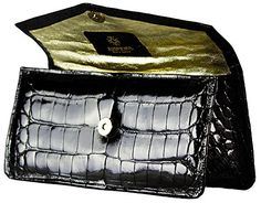 Product review for Black Formal Alligator Clutch by John Allen Woodward.  Handmade and signed by award winning artist John Allen Woodward. 100% authentic American Alligator. Gold calf lining. 10″ long, 4 1/2″ high, 3″ deep. Strap or handle can be customized for an additional charge. PIC REDIRECT (2ND FUNNEL) Make all of your pictures on Facebook, Google +, Linkedin, an... - https://fashion-bags.bestselleroutlets.com/cheap-handbags/evening-bags/product-review-for-black