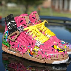 Jordan 4 x The Simpsons 🍩😁  Comment on your favourite character ⬇️  👉 for more sneaker art! Jordan 4, Jordan Tenis, Jordan Swag, Jordan Shoes Girls, Girls Shoes, Custom Sneakers, Custom Shoes, Custom Jordans, Custom Painted Shoes