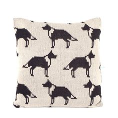 Collie Dog Knitted Cushion Cover by WoollyWallaby on Etsy