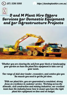 D and M Plant Hire has a long-standing team that has helped shape Brisbane through major infrastructure projects and has helped the plant hire industry in Queensland evolve. This company offers services in different infrastructure projects and it has a wide variety of machines like excavators, combos etc. Take Care Of Yourself, Brisbane, Construction, Shape, Plants, Projects, Building, Log Projects, Blue Prints
