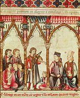"Group of Troubadours, illustration from ""Cantigas de Santa Maria"", made under direction of Alfonso X (""Wise"") King of Castille and Leon (1221-84)   Musem: Biblioteca Monasterio del Escorial"